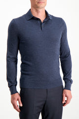 Front Crop Ermenegildo Zegna Cashseta Long Sleeve Polo Navy