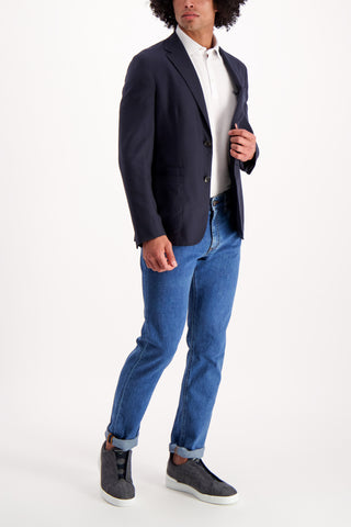 Full Body Image Of Model Wearing Ermenegildo Zegna Casual Sportcoat Navy