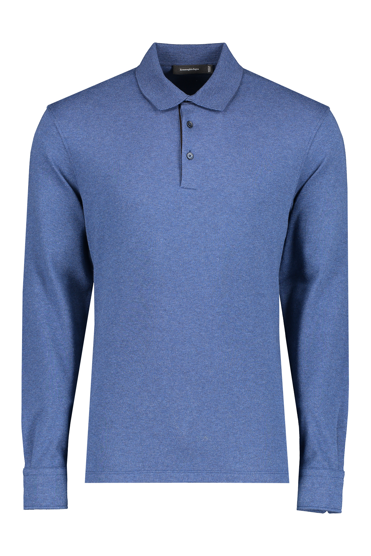 Front view image of Ermenegildo Zegna Cotton Long Sleeve Polo with Leather Detail