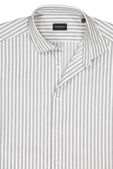 Front collar detail image of Ermenegildo Zegna Men's Green Wide Stripe Woven Shirt