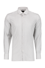 Front view image of Ermenegildo Zegna Men's Green Wide Stripe Woven Shirt