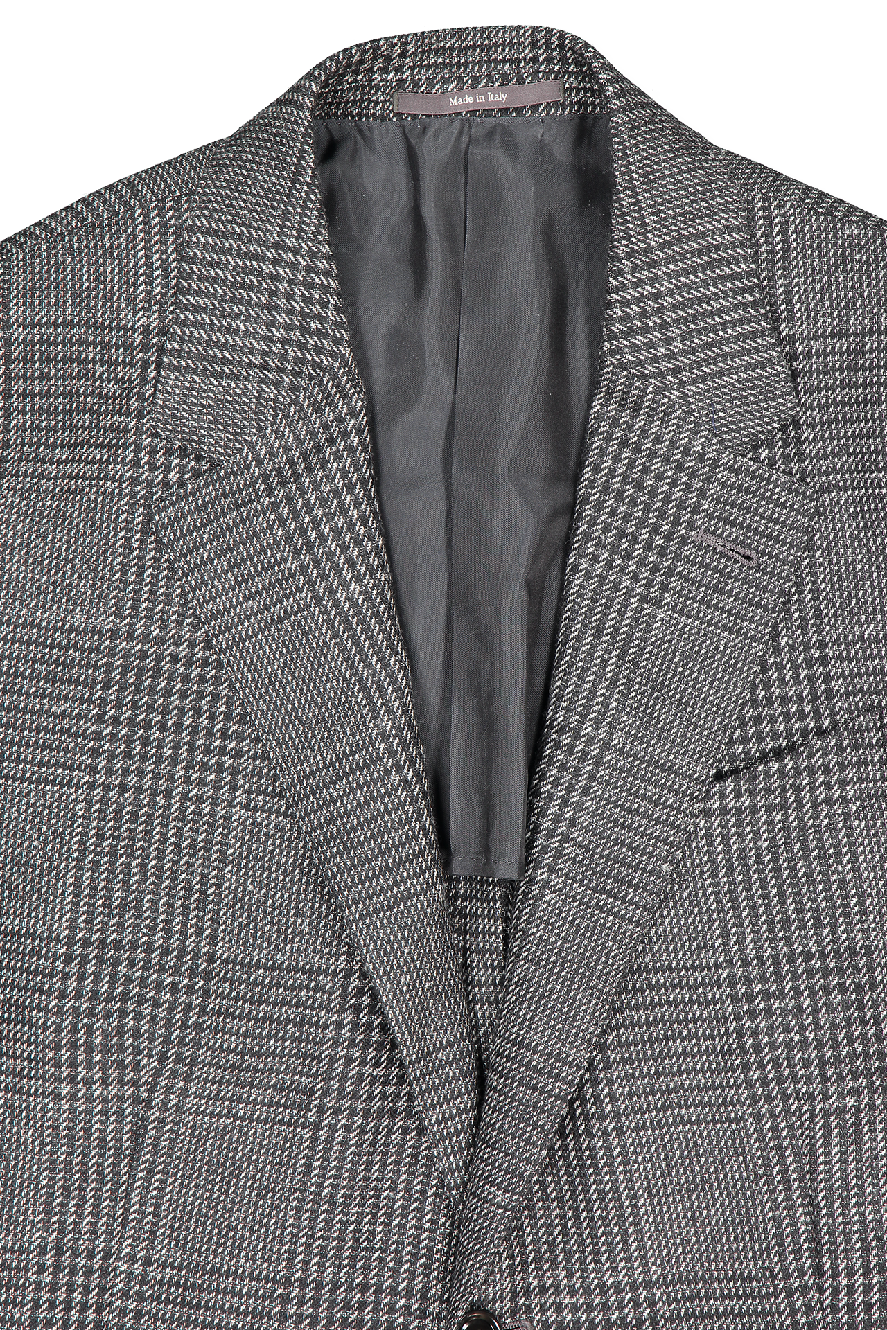 Front collar and lapel detail image of Ermenegildo Zegna Grey Plaid Sport Coat