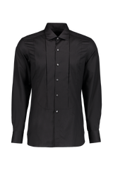 Long Sleeve Dress Shirt Pleat Black
