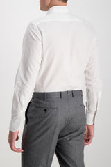 Long Sleeve Formal Shirt Pleat White