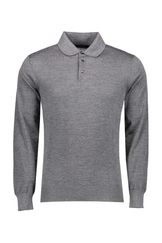 Front image Ermenegildo Zegna Men's Long Sleeve Polo in Solid Grey