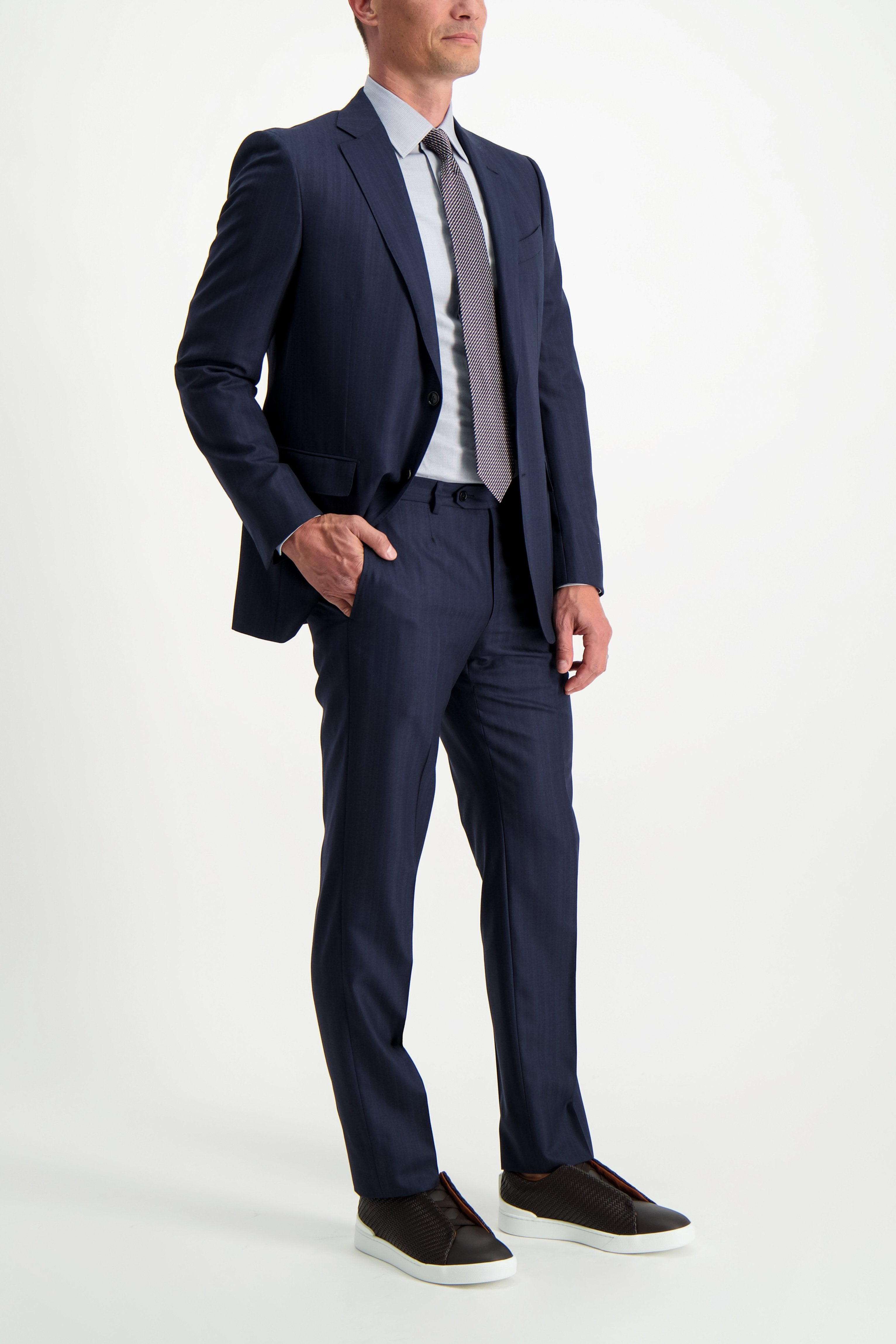 Full Body Image Of Model Wearing Ermenegildo Zegna Micro Check Dress Shirt