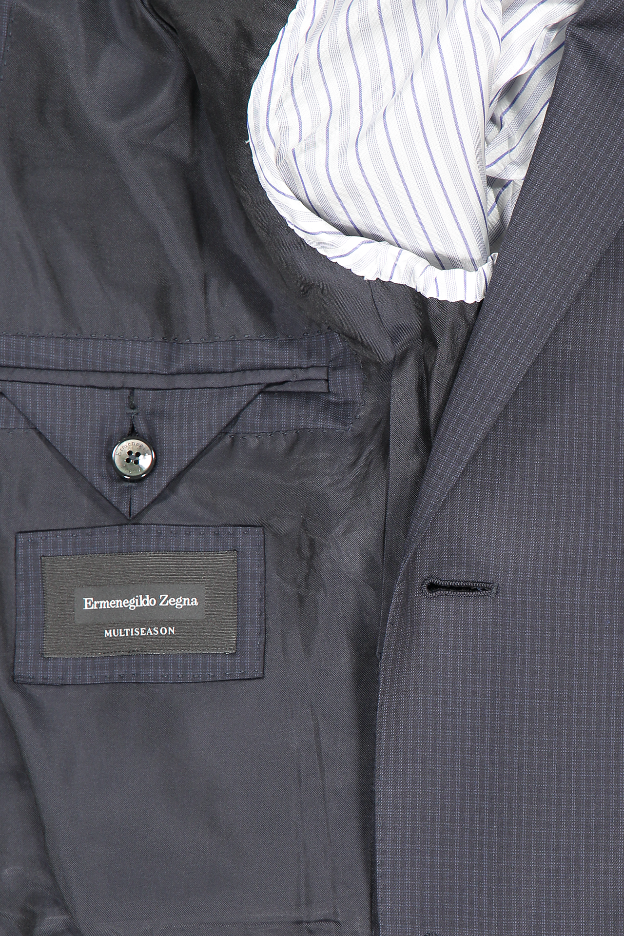 Interior Detail Image Of Ermenegildo Zegna Multiseason Micro Check Milano Suit