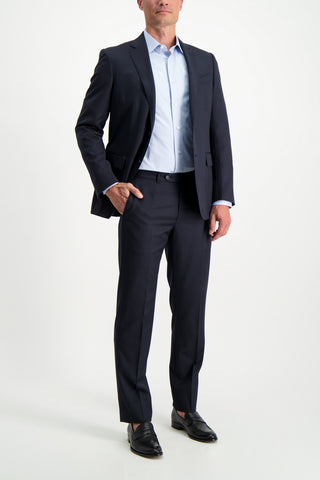 Full Body Image Of Model Wearing Ermenegildo Zegna Multiseason Micro Check Milano Suit