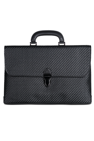 PELLE TESSUTA SLIM BUSINESS BAG BLACK