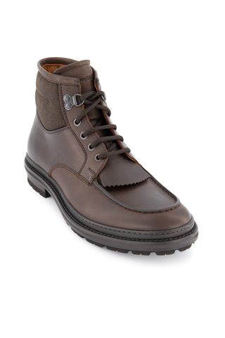 Front angled view image of Ermenegildo Zegna Roccia Flex Leather Hiking Boot