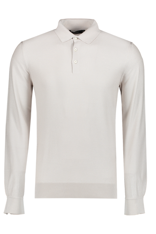 Front view image of Ermenegildo Zegna Silk Long Sleeve Polo Cream
