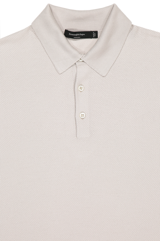 Front collar and button detail image of Ermenegildo Zegna Silk Long Sleeve Polo Cream