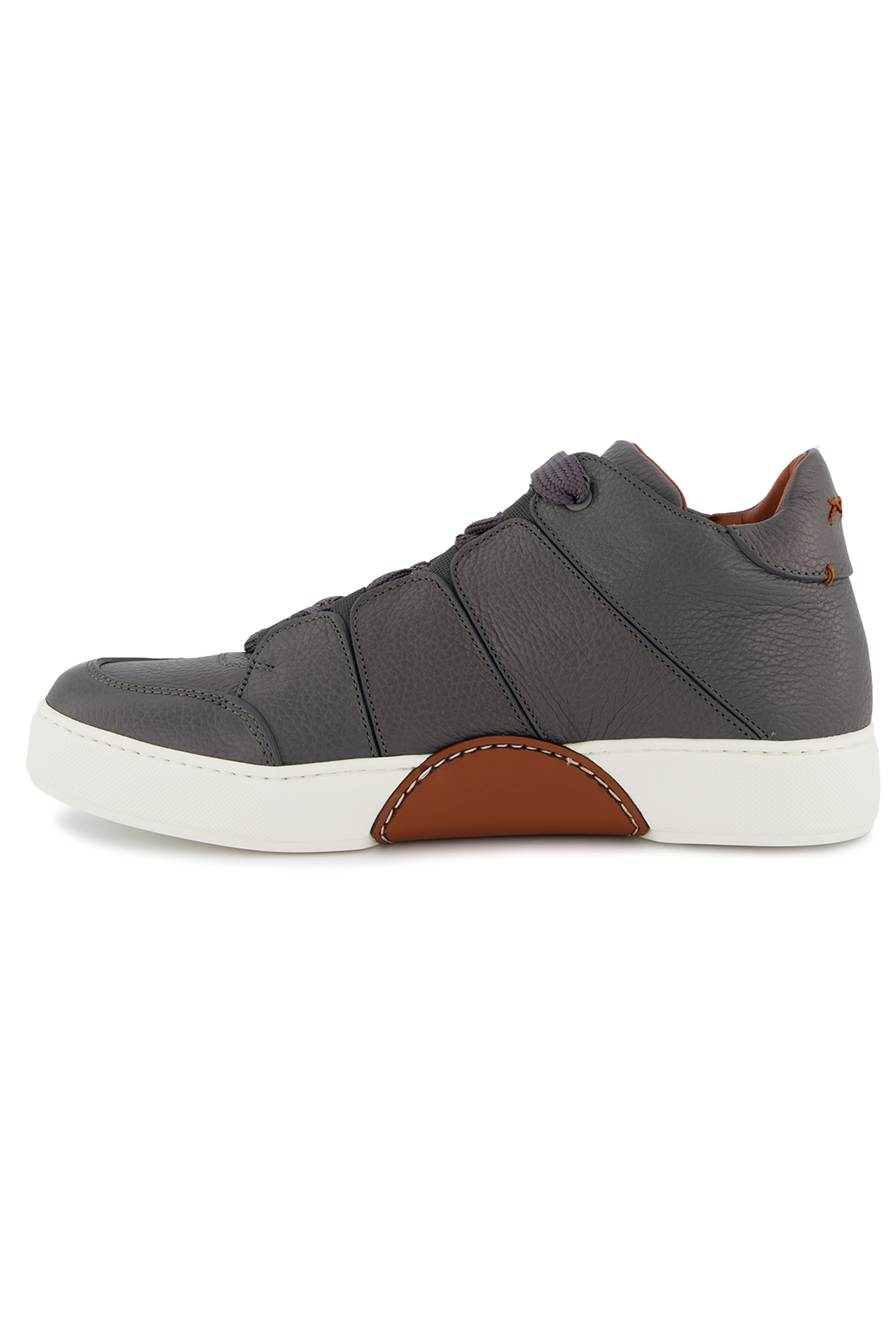 Instep view image of Ermenegildo Zegna Tiziano Leather Hi Top Sneaker