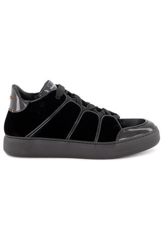 Side view image of Ermenegildo Zegna Men's Tiziano Velvet Hi Top Sneaker