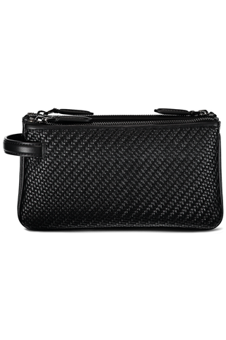 TRIPLE ZIP TRAVEL POUCH BLACK