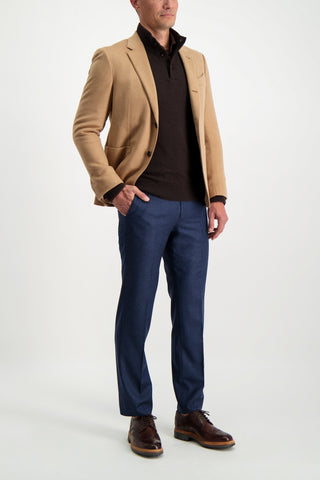 Full Body Image Of Model Wearing Ermenegildo Zegna Wool Button Up Mock Neck Sweater Brown