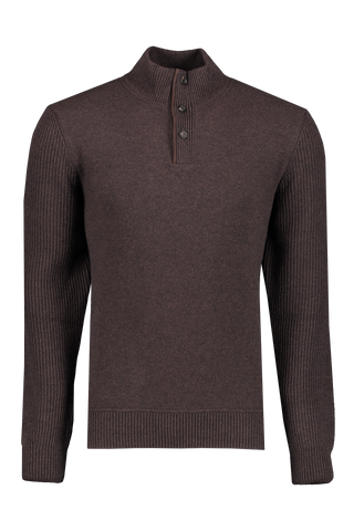 Front view image of Ermenegildo Zegna Wool Button Up Mock Neck Sweater Brown