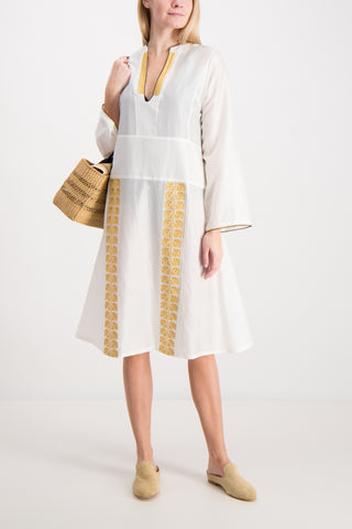 Long Sleeve Milos Dress In Ivory