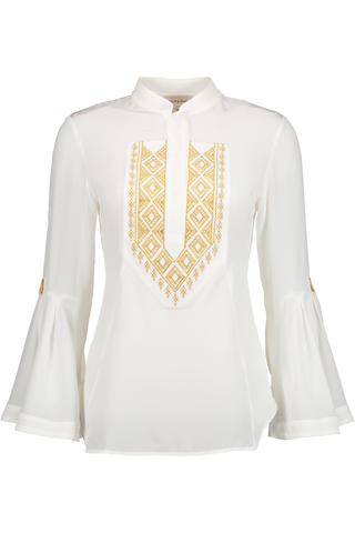 Long Sleeve Delphi Blouse In Ivory And Gold