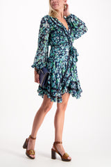 Full Body Image Of Model Wearing Zimmerman Moncur Wrap Mini Dress