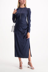 Full Body Image Of Model Wearing Zimmerman Ruched Drape Dress