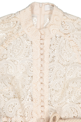 Front button closure detail image of Zimmermann Amari Paisley Lace Short Dress