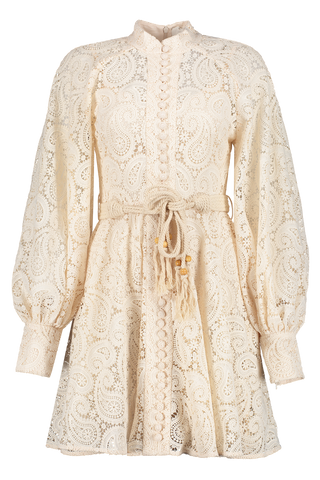 Front image of Zimmermann Amari Paisley Lace Short Dress
