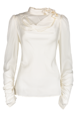 Front view image of Zimmermann Espionage Silk Cowl Blouse