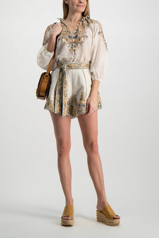 Full Body Image Of Model Wearing Zimmerman Freja Paisley Short