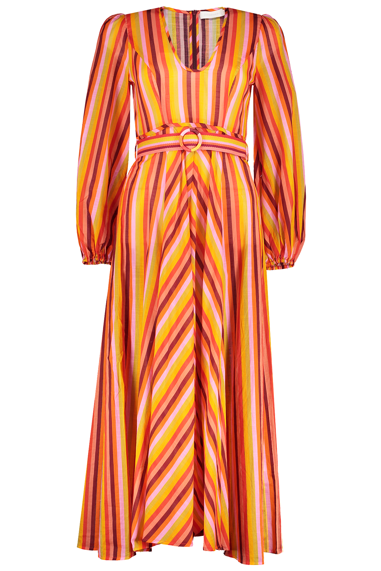 Front image of Zimmermann Goldie Rainbow Plunge Dress