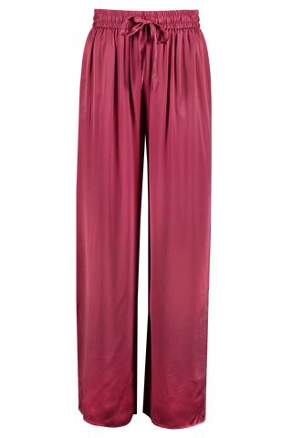 Front view image of Zimmermann Women's Silk Track Pant Berry