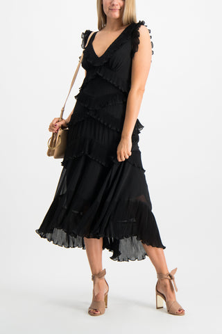 Full Body Image Of Model Wearing Zimmermann Super Eight Frilled Midi Dress