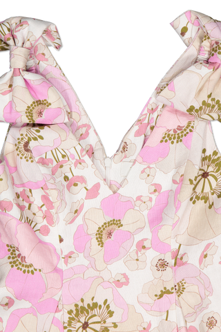 Collar Detail Image of Zimmermann Super Eight Ribbon Tie Dress