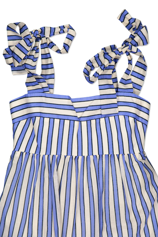 Neckline and strap detail image of Zimmermann Verity Stripe Tiered Tie Dress