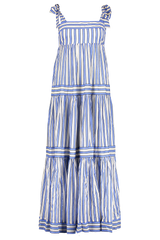 Front image of Zimmermann Verity Stripe Tiered Tie Dress