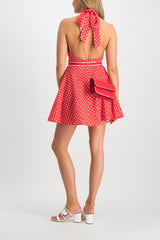 Back Crop Image of Model Wearing Zimmermann Zinnia Halter Neck Mini Dress