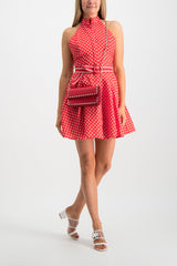 Full body Image of Model Wearing Zimmermann Zinnia Halter Neck Mini Dress