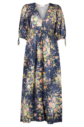 Front Image of Zimmermann Zinnia Shirred Waist Dress