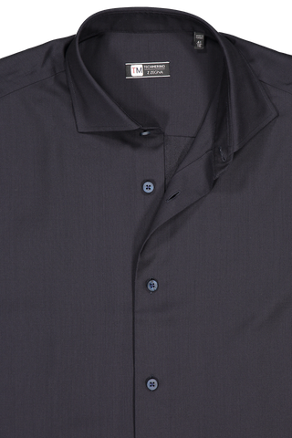 Front collar detail image of Z Zegna Black Techmerino Shirt Black