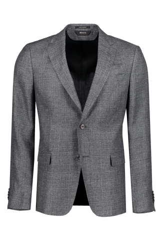 Solid Grey Wool and Linen Jacket Grey
