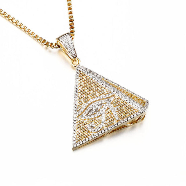 Iced out evil eye pendants necklaces egyptian pyramid shape dee iced out evil eye pendants necklaces egyptian pyramid shape aloadofball Choice Image