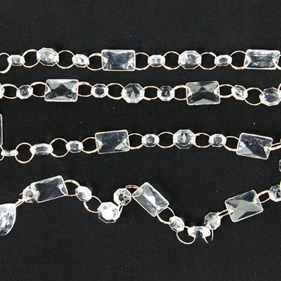 Princess-Style Acrylic Diamond Garlands - 5 Chains Clear