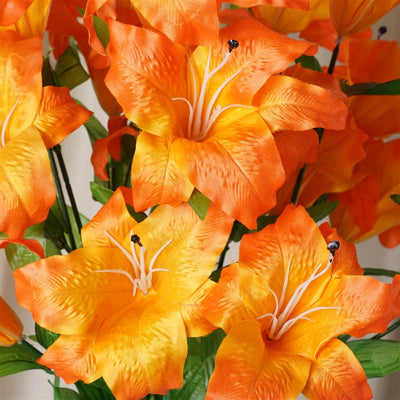 54 Supersized Artificial Casa Blanca Lily Flowers Wedding Bouquet Vase Centerpiece Decor – Orange