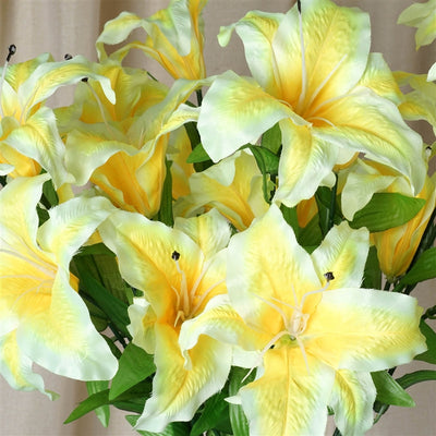 Casa Blanca Lily Artificial Silk Flowers - Yellow
