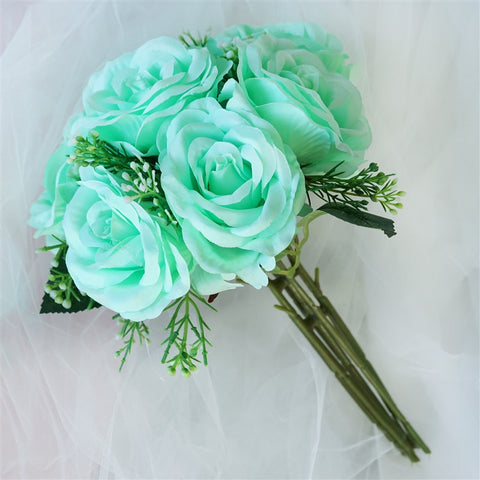4 Realistic Looking Fabric Flower Bouquet - Aqua