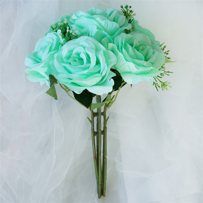Rose & Baby Breath Assorted Bridal Bouquet Artificial Silk Flowers - Aqua
