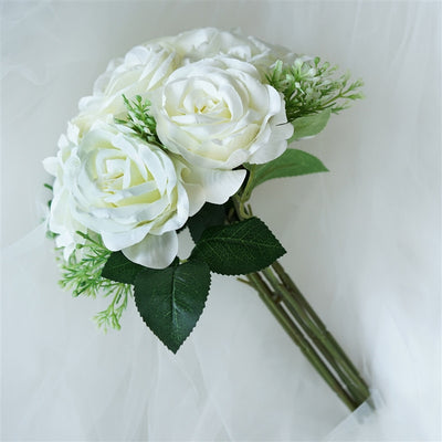 4 Realistic Looking Fabric Flower Bouquet - Cream