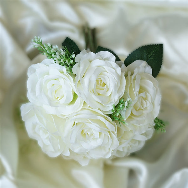 28 Artificial Open Rose Flowers Bridal Bouquet Wedding Vase Centerpiece Decor - Cream