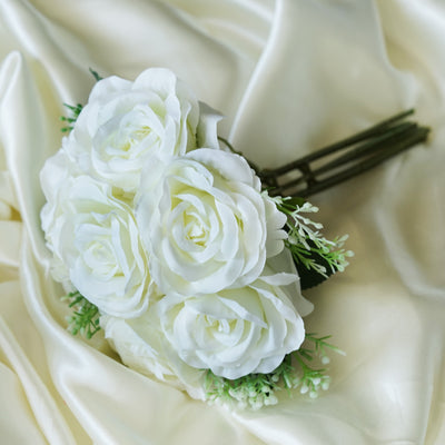 Rose & Baby Breath Assorted Bridal Bouquet Artificial Silk Flowers - Cream