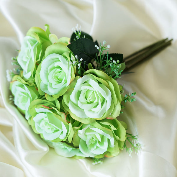 Rose & Baby Breath Assorted Bridal Bouquet Artificial Silk Flowers - Lime Green